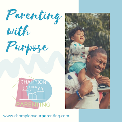 Man with child on shoulders - text overlay parenting with purpose