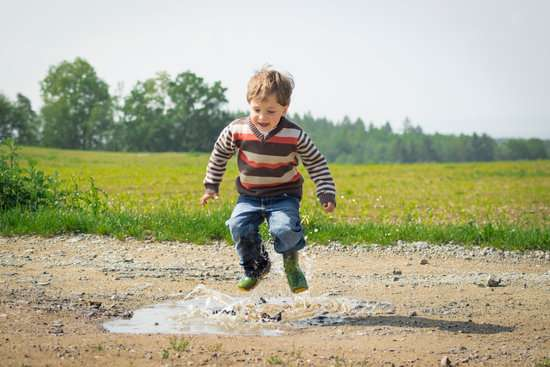 brain break by jumping in puddle
