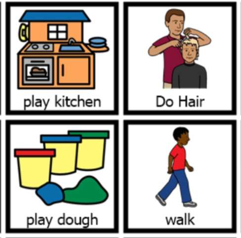 drawings of playdough, walking, haircut and play kitchen - using visuals to support learning