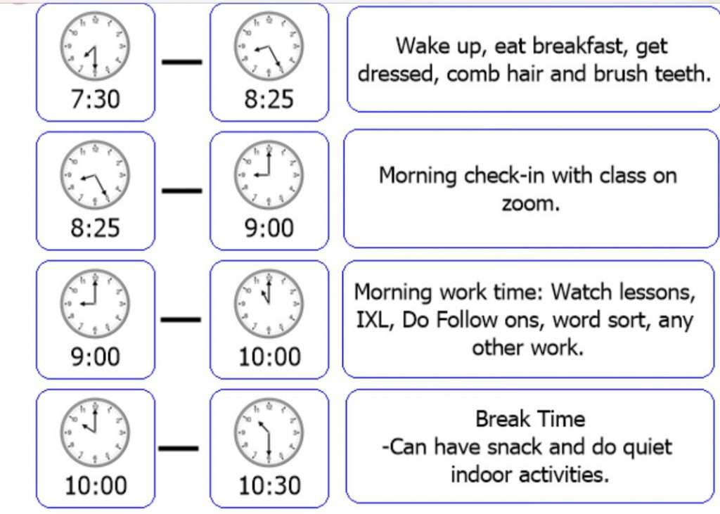 illustration of a daily schedule