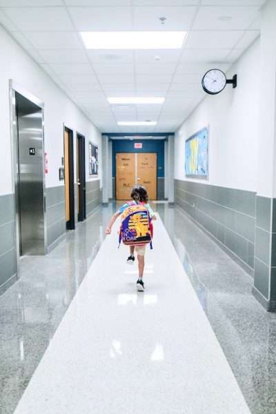 boy in school hallway