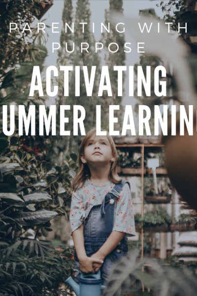 summer learning of girl in plant store