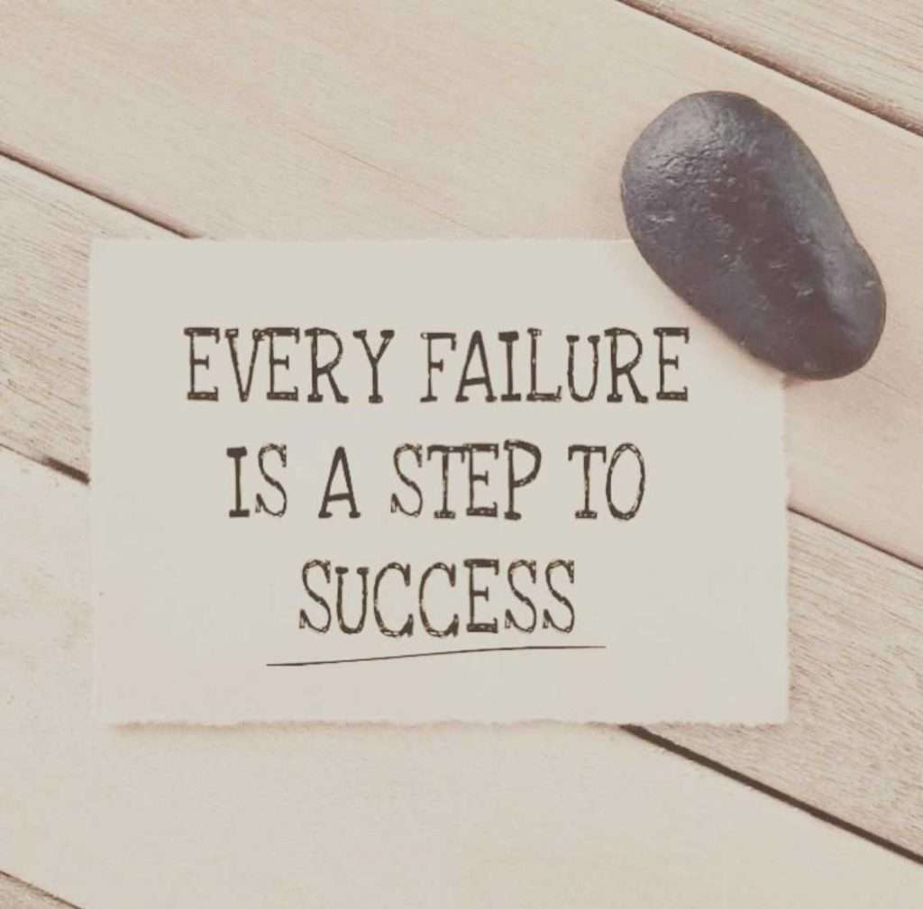 """rock holding note """"Every Failure is a step to success"""" -letting your child fail is difficult!"""