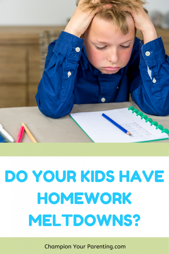boy with hands on head, homework meltdown