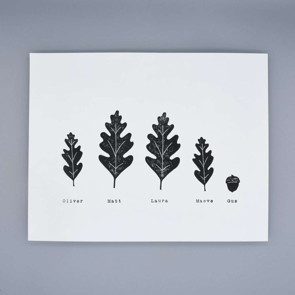leaves prints as family portrait- teacher appreciation gifts