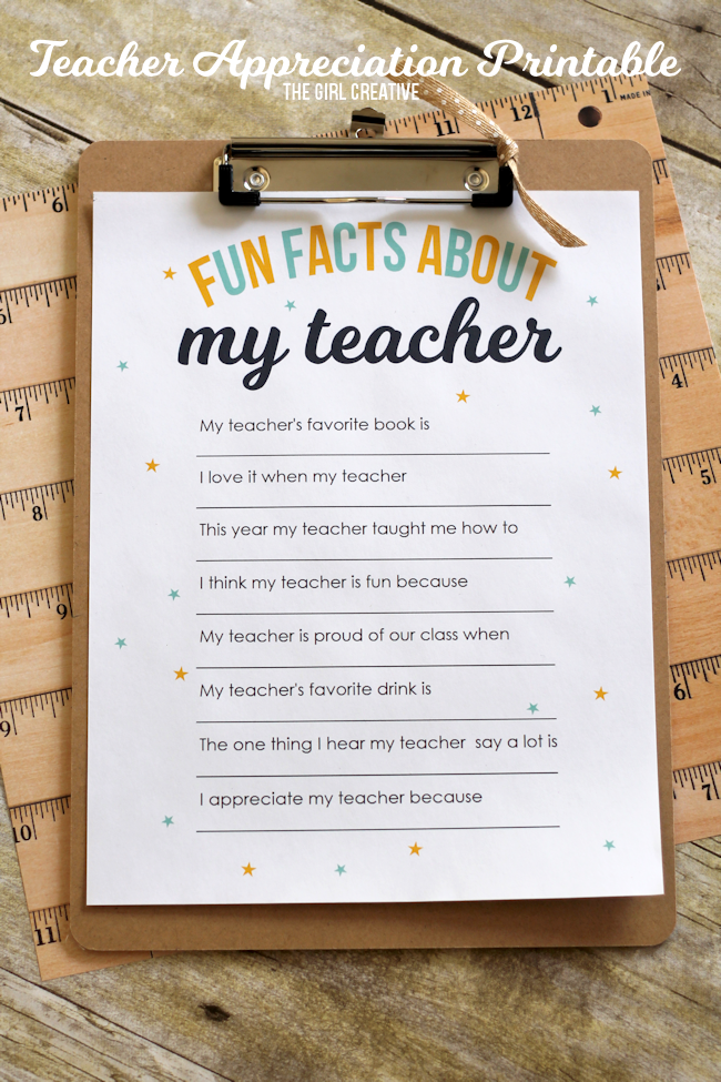 fun facts worksheet - teacher appreciation gifts