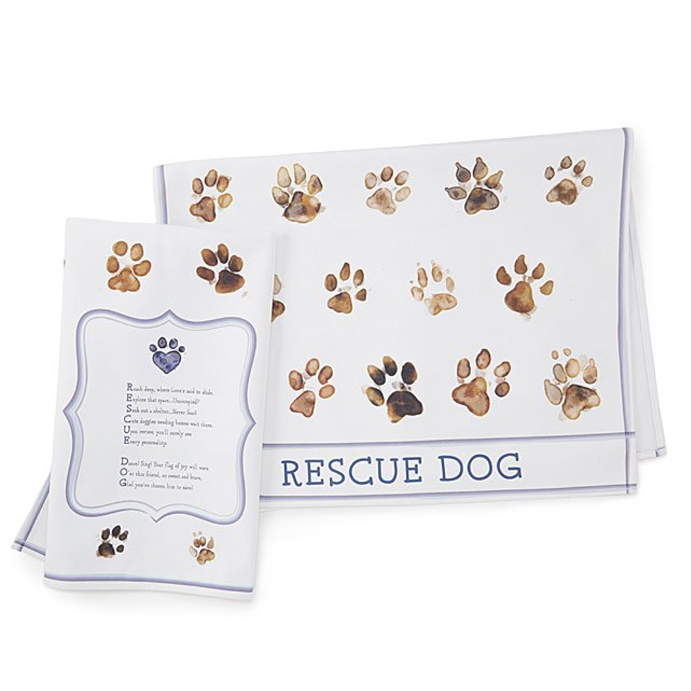 dish towel with paw prints - teacher appreciation gifts