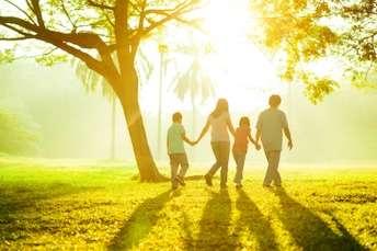 Family walking in sunshine