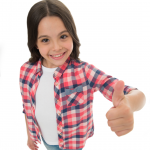 girl in plaid shirt with thumbs up sign- confident kids