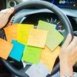 Steering wheel with postits- car stories